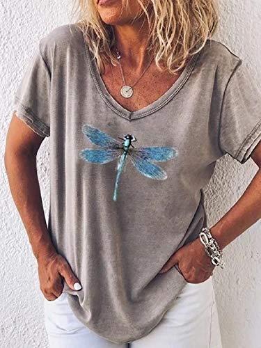 Casual V-Ausschnitt Frau T-Shirt Kurzarm Libelle gedruckt Top Loose Pullover-grau_XXL