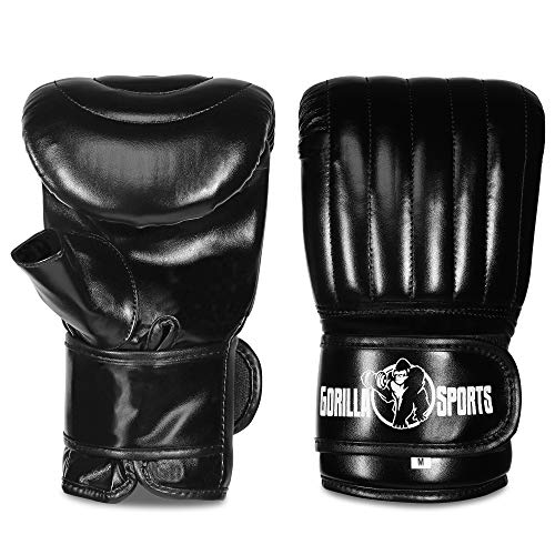 GORILLA SPORTS Boxhandschuhe Trainings-Handschuhe Sandsack-Handschuhe dünn schwarz S-L Größe M