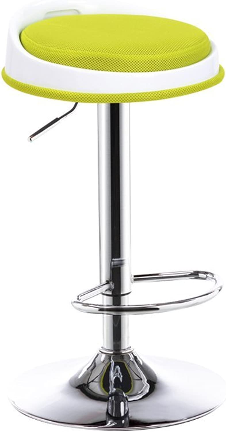 WFFXLL redating Lift Bar Chair Front Chair High Stool 66.5-86.5cm High Bar Stool (color   Green)