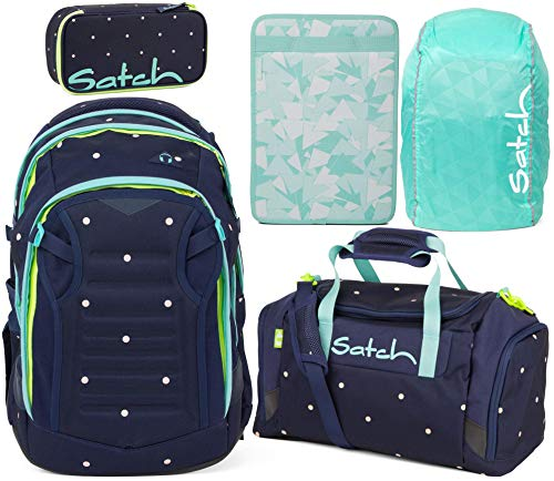 Satch Match Pretty Confetti 5er Set Schulrucksack, Sporttasche, Schlamperbox, Heftebox & Regencape Mint