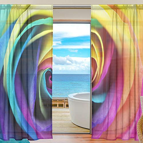 Sheer Curtains Voile Tulle 55 W x 78 L Inches,2 Panels Macro of Rainbo