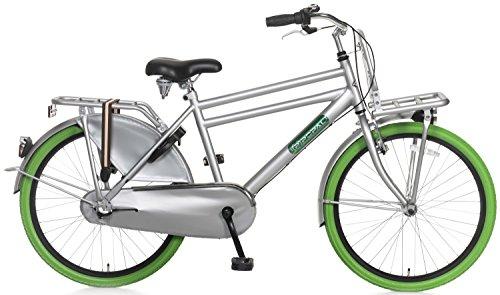 Kinderfiets 24 inch Popal Daily Dutch Basic 24 Shimano Nexus 3 versnellingen koplamp LED frame en vergrendeling van de fiets 95% gemonteerd grijs groen