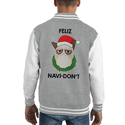Cloud City 7 Feliz Navi-Don't Christmas Cat Black Kid's Varsity Jacket