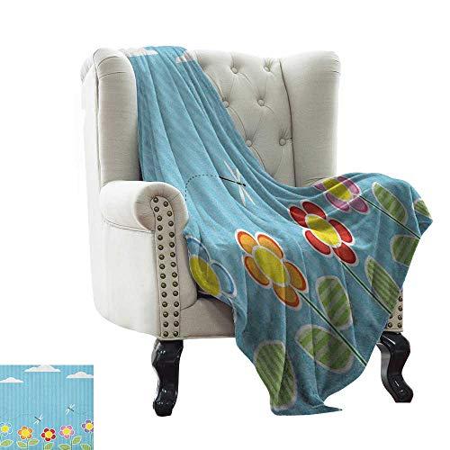 BelleAckerman manta pesada Dragonfly, Kids Playroom Kids Floral Girls Daisy Blooms bajo Cloudy Sky Blue White microfibra manta para cama o sofá Multicolor 76,2 x 127 cm