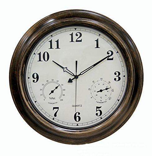 Grande Horloge Murale Radiocommandée Avec Température Et Humidité, Intérieur/Extérieur Décoration Intérieure Avec Chiffres Arabes Imperméables (Bronze)