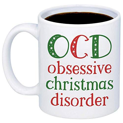 Christmas Mugs - Obsessive Christmas Disorder Coffee Mug - Funny Cute Jolly Festive 11oz Xmas Cup for Best Friend, Sister, Mom, Girlfriend, Santa Claus Lovers - Holidays Teacup