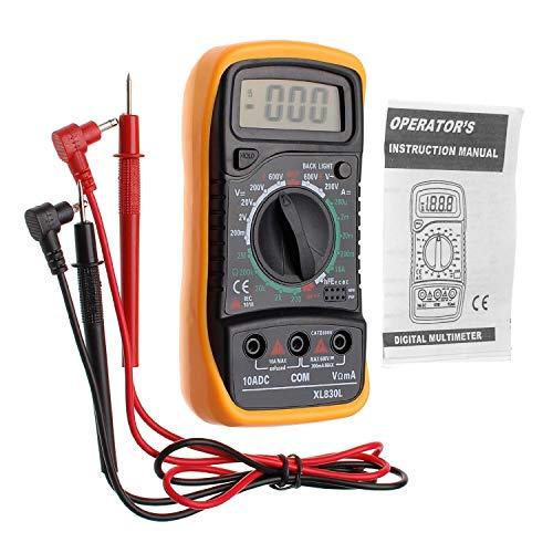Digital Multimeter XL830L mit LCD-Hintergrundbeleuchtung - Messgerät für Strom, AC/DC-Spannung, Widerstand, Kontinuität, Dioden usw. schwarz/gelb (Ink.9V Batterie und Messleitungen)