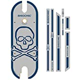 SHIOCHIC - Tabla con Pegatinas - Accesorio Patinete Eléctrico Xiaomi Pro y Pro 2 - Medidas: 67.8 x 23.8 x 0.9 cm - Skull Smoke - Personaliza tu Patinete - Permite Apoyar los Pies en Paralelo