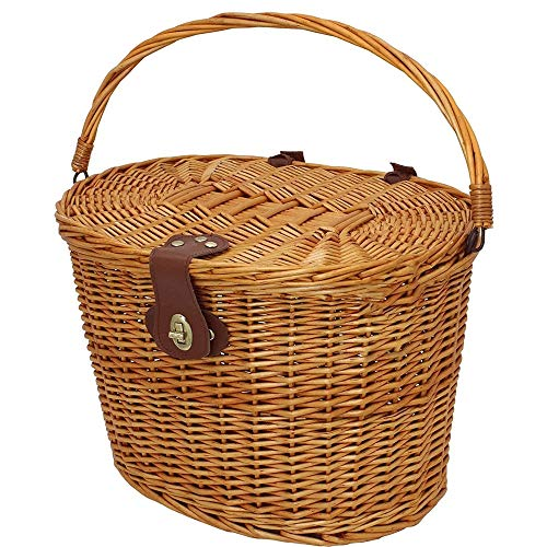 SHUSHI Vintage Wicker Bicycle Basket with Folding Lid & Leather Straps, Round Basket With Handle