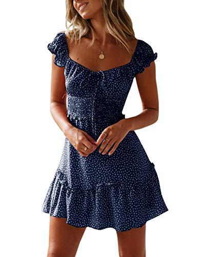Ybenlover Damen Blumen Sommerkleid High Waist Volant Kleid Vintage Minikleid Strandkleid, Dunkelblau, S