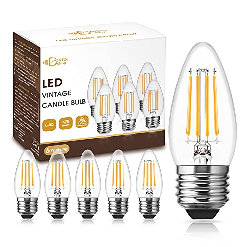 DORESshop 4W LED Kerzenbirnen, Filament Birne E27 LED, 470 Lumen, CRI≥90+, Ersatz für 40W Glühlampe, Edison Glühbirne E27 LED Warmweiss 2700K, Kerze Lampe für Kronleuchter, Nicht Dimmbar, 6 Stück