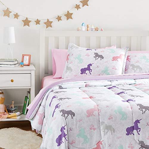 Amazon Basics Easy Care Super Soft Microfiber Kid's Bed-in-a-Bag Bedding Set - Full / Queen, Purple Unicorns