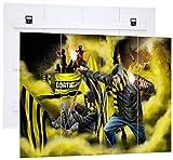 Ultras Dortmund mit Pyro und gelben Nebel, MDF-Holzbild im