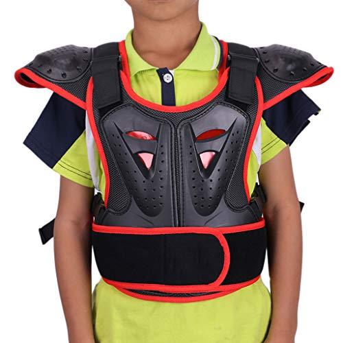 Kinder Motorrad Weste Brustpanzer Racing Guard mit Rückenprotektoren,Body Brust Wirbelsäulenschutz Rüstung Weste für Jungen und Mädchen für Riding Skating Roller Skifahren Snowboard Ski Hockey,Red-XL
