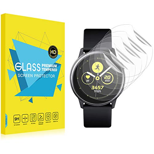 TiMOVO TPU Screen Protector Fit Samsung Galaxy Watch Active, [6-Pack] HD Clear Full Coverage Anti Scratch Shatterproof Protector Film Fit Samsung Galaxy Watch Active - Clear