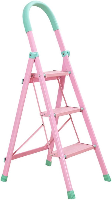 FFLSDR Step Stool Home Folding Ladder Thick Steel Telescopic Ladder Three-step Ladder Outdoor Skid Widened Step Stool