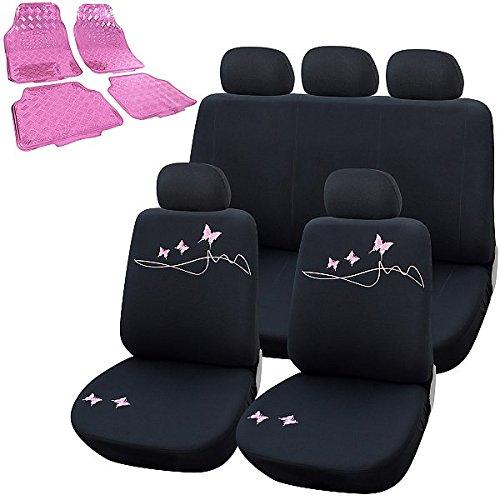 WOLTU 7304+7160 Auto Sitzbezüge Sitzbezug für PKW, inkL. Fußmatten Matten, ALU Look Chorm Optik Riffelblech, Schonbezüge mit Butterfly Stickerei, Schwarz&Rosa