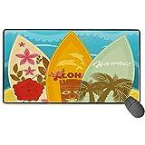 Hawaiian Beach Surfboards auf Sand Gaming Mouse Pad, erweiterte große Mausmatte Schreibtischunterlage, Lange rutschfeste Gummiunterlagen für Mäuse