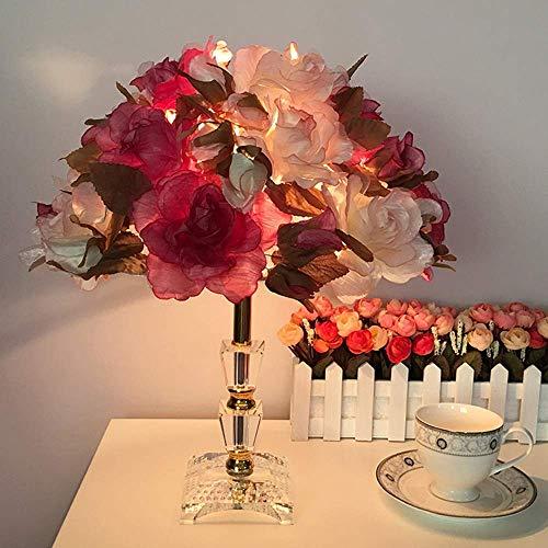 N/Z Equipo para el hogar Crystal Rose Sala de Bodas Lámpara de Mesa Dormitorio Lámpara de Noche Princesa romántica Lámpara de Mesa pequeña 33 * 40cm (Color: A)