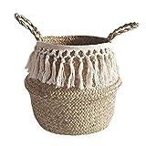 Panier en jonc de mer avec partie supérieure pliable pour le rangement du linge, pique-nique, cache-pot de fleurs, sac de...
