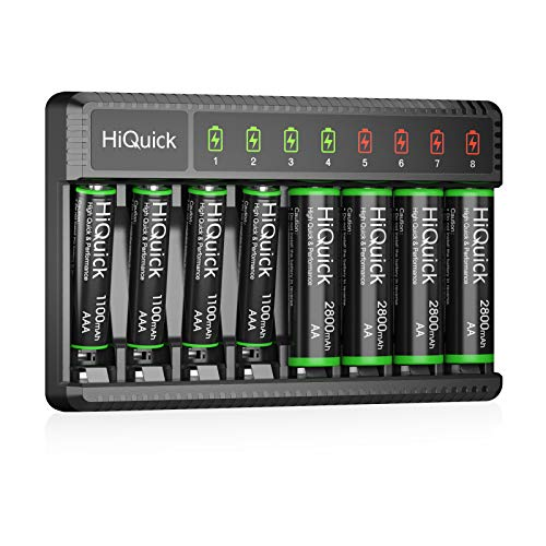 HiQuick 8 Bay Smart Battery Charger with AA & AAA Rechargeable Batteries- Fast Charging Household Battery Charger and AA 2800mAh Batteries 4 Pack & AAA 1100mAh Batteries 4 Pack