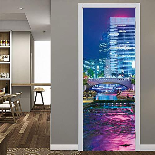 Atiehua 3D Pvc Purple Animated City Door Stickers Waterproof Wallpapers Self-Adhesive Mural For Bedroom Living Room Hallway Art Gallery