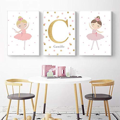 LZASMMVP Dancing Girl Wall Art Canvas Painting Posters Nursery Wall Poster Nombre Personalizado nórdico Baby Girl Room Decor 45X65cmX3Pcs Sin Marco