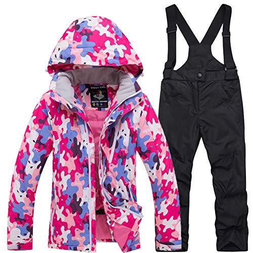 LSERVER Ropa Impermeable de Nieve Traje de Esquí para Niñas para Invierno, Rosa+Negro, M