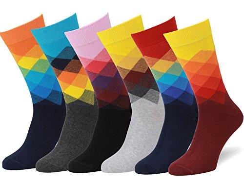 Easton Marlowe 6 Paar Bunt Gemusterte Socken Herren - 6pk 30, gradient, helle Farben- 43-46 EU Schuhgröße