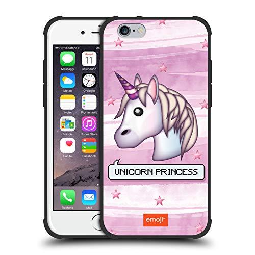 Head Case Designs Ufficiale Emoji Unicorn Princess Battute Pastello Cover Resistente agli Urti Nero Opaco Compatibile con Apple iPhone 6 / iPhone 6s