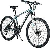KRON TX 100 Aluminium Mountainbike 28 Zoll | 21 Gang Shimano Kettenschaltung mit Scheibenbremse | 18 Zoll Rahmen MTB Erwachsenen  und Jugendfahrrad | Grau Blau