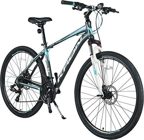 KRON TX-100 Aluminium Mountainbike 28 Zoll | 21 Gang Shimano Kettenschaltung mit Scheibenbremse | 18 Zoll Rahmen MTB Erwachsenen- und Jugendfahrrad | Grau Blau
