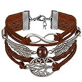JewelryWe Bijoux Bracelet Artisanal Rétro Aile d'Ange Amour Infini Arbre de Vie Multi-Rangs Réglable Cuir Alliage Fantaisie pour Homme et Femme Couleur Marron Argent