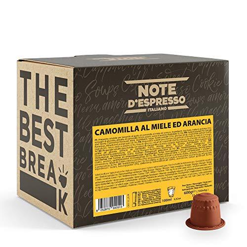 Note d'Espresso Italiano - Cápsulas de manzanilla con miel y naranja, 6g (caja de 100 unidades) Compatible con cafeteras Nespresso*