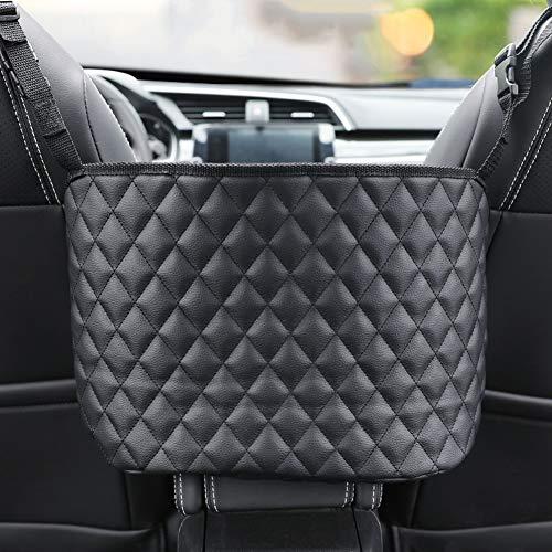 CARSA Car Handbag Holder, Seat Back Organizer Mesh Bag Between Car Seats,Cargo Tissue Purse Holder, Barrier of Backseat Pet Kids (Black)