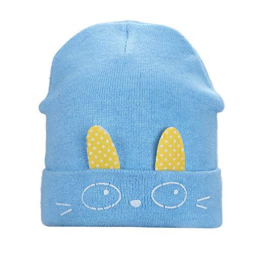 E-House Bonnet en tricot avec oreilles de lapin et oreilles de lapin - Rose clair bleu clair