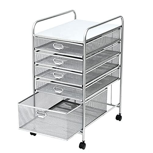 Cajonera Oficina Mueble Archivador Metal gris Organizador de archivadores Con ruedas Cajón, Mini organizador de almacenamiento vertical delgado y estrecho, Tamaño carta de papel A4 (Color : 5 tier)
