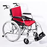 """Hi-Fortune Magnesium Wheelchair 21lbs Lightweight Self-propelled Chair with Travel Bag and Cushion, Portable and Folding, 17.5"""" Seat, Red, 21lbs"""