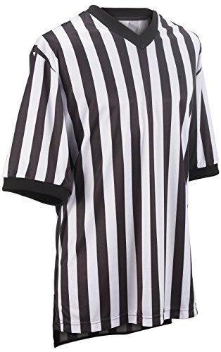 Adams USA Smitty Performance Mesh Standard V-Neck Referee Shirt (Black/White, Large)