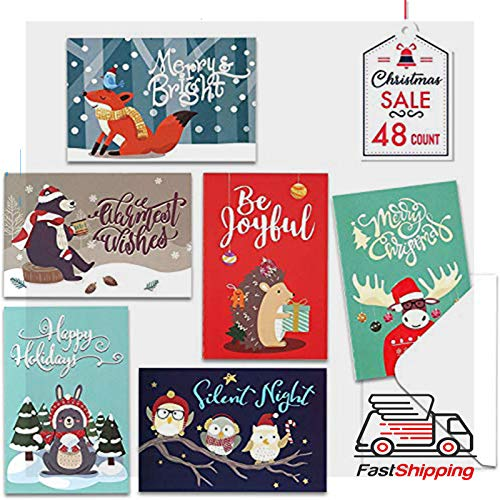 Elegant Christmas Cards - Christmas Cards with Envelopes, 48-Count Christmas Cards Boxed, 6 Woodland Animal Designs, 4 x 6 Inches, Blank Inside Christmas Cards Bulk, Holiday Xmas Greeting Cards