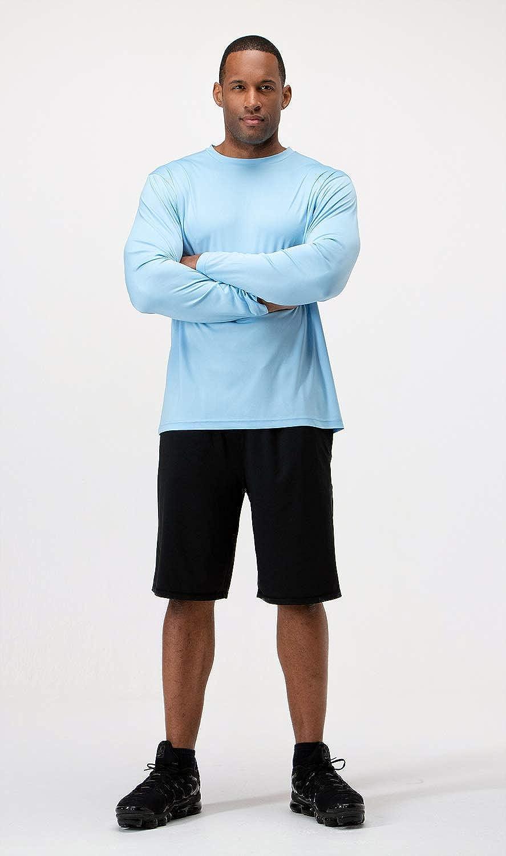 DEVOPS Men's 2 Pack UPF 50+ Sun Protection Long Sleeve Dri Fit Fishing Hiking Running Workout T-Shirts: Clothing