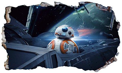 Chicbanners Star Wars BB8 BB-8 V77 3D Magic Window Wall Smash Aufkleber, selbstklebend, Größe 1000 mm breit x 600 mm tief