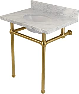 Fauceture KVPB30MB7 Templeton Carrara Marble Bathroom Console Vanity with Brass Pedestal, Carrara Marble/Brushed Brass