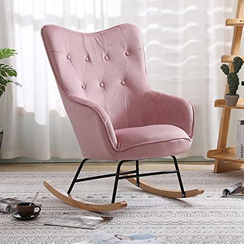 Mecedora de lino gris para tiempo libre, mecedora para tiempo libre, mecedora con acolchado muy suave, adecuada para exterior, jardín, salón, color rosa