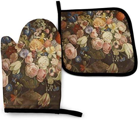 Antvinoler Elegant Vintage Floral Rose Victorian Oven Mitt Pot Holders Set Heat Resistant and product image