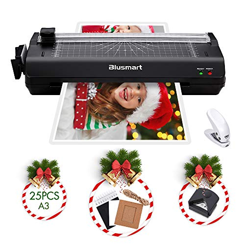 Blusmart A3 Laminator with 25 Laminating Pouches/Paper Cutter/Corner Rounder Laminate for A3/A4/A6