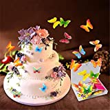 100 piezas comestibles forma de flor de mariposa decoración para hornear pasteles glutinoso papel...