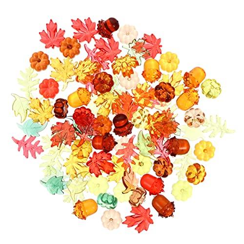 Amosfun 90 unidades de hojas de calabazas acrílicas pequeñas de arce, bellotas, decoración de fotos para cosecha, Acción de Gracias, decoración de otoño