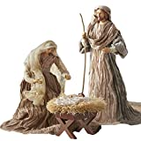 Large Holy Family Christmas Nativity Set, 3 Pieces, 17.5 Inch Tall, Fabric & Resin