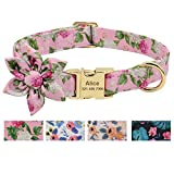 Beirui Custom Flower Girl Dog Collar for Female Dogs- Floral Pattern Engraved Pet